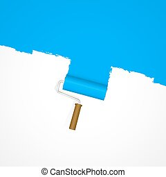 Background paint roller - repainting blue