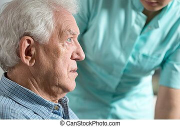 Close-up of worried man - Close-up of elderly worried sick...