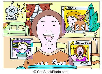 webcam chat - webcam chat vector based illustration in a...