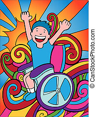 Happy Disabled Child vector based illustration in a hand...