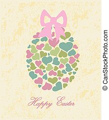 Happy Easter - Romantic Easter egg on grunge background