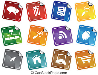 Internet Browser Sticker Set isolated image on a white...