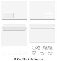 White Envelopes Writing Paper Postage Stamps