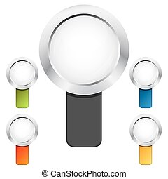 Set colorful magnifying glasses