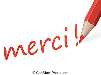 "Pen with text "" merci! """