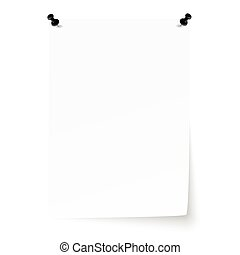 Blank sheet of paper with pins and lifted corner
