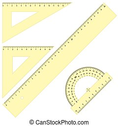 Set - Rulers Triangular yellow