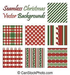 Seven seamless christmas vector backgrounds on white