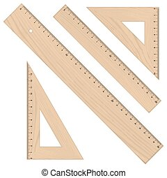 Set - Rulers Triangular wooden