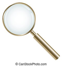 golden magnifying glass isolated