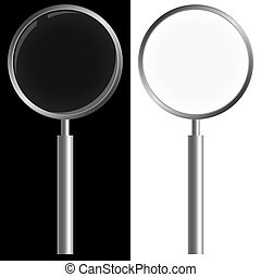 Magnifying glass on black and white