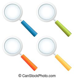 Collection magnifying glasses isolated