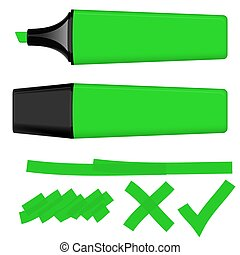 Highlighter green with markings