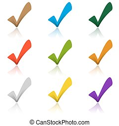 Set of colored hooks with shadow