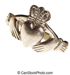 traditional Claddagh ring isolated on a pure white...