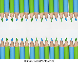 Wooden colored pencils facing up and down