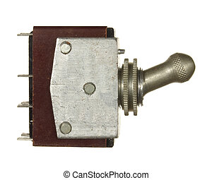 Industrial  electrical switch isolated on white background.