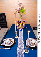 table appointments - festive table decoration, decorated...