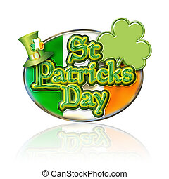 St Pats Oval w - St Patricks Day Chrome effect Graphic with...