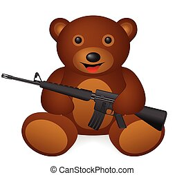 bear M16 - Teddy bear M16 on a white background. Vector...