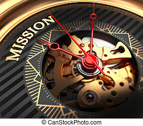 Mission on Black-Golden Watch Face. - Mission on...