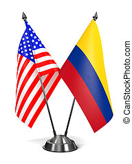 USA and Colombia - Miniature Flags. - USA and Colombia -...