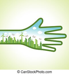 eco cityscape with hand