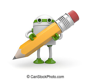 Robot with pencil. Isolated on white