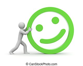Man rolls smiling face - Conceptual image. Isolated on white