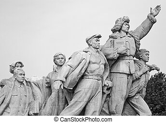 Chinese statue in Tiananmen Square - Detail of chinese...
