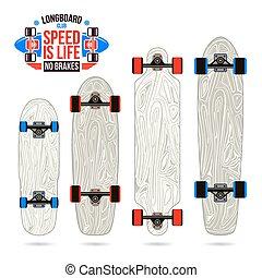 Set of blanks form longboard