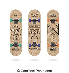 Set of retro badges on a skateboard - Set of retro vintage...