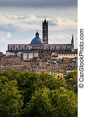 Panorama of Siena, Italy - Panorama of old town Siena,...
