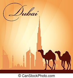 Dubai city skyline silhouette background
