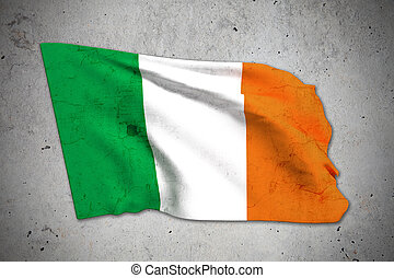 old ireland flag - 3d rendering of an old ireland flag