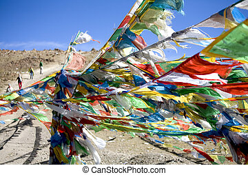 prayer flags himalayas - prayer flags blowing in wind