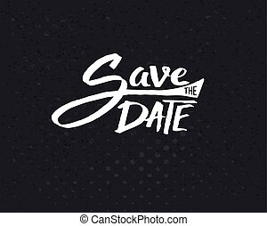 White Save the Date Texts on Abstract Black - Conceptual...