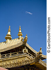 tibetan temple - detail of tibetan temple roof