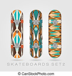 Skateboard set. Retro tracery - Set of drawings on a...