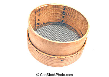 Old wooden sieve for flour isolated on white
