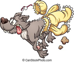 Scared wolf running and slipping off clothes. Vector clip...