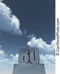 eighty - metal eighty - 80 - in front of cloudy blue sky -...