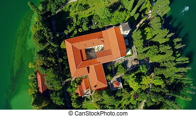 Monastery Visovac, aerial descenting shot - Copter aerial...