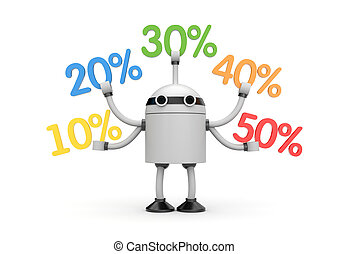 Robot with discounts - Business concept. Isolated on white