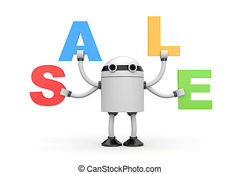 Robot with word sale - Business concept. Isolated on white