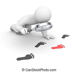 Person examines footprints - Business concept Isolated on...