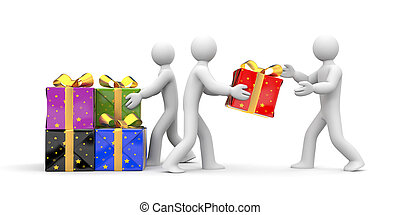 People unload gift boxes - Illustration for New Year and...