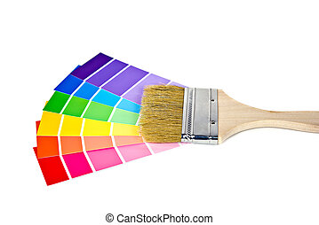 paint brush on paint chips - New paint brush on a colorful...