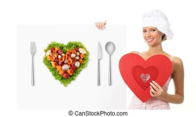 chef woman showing diet concept