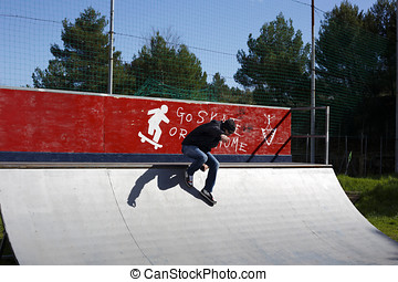 Man skating without skate board